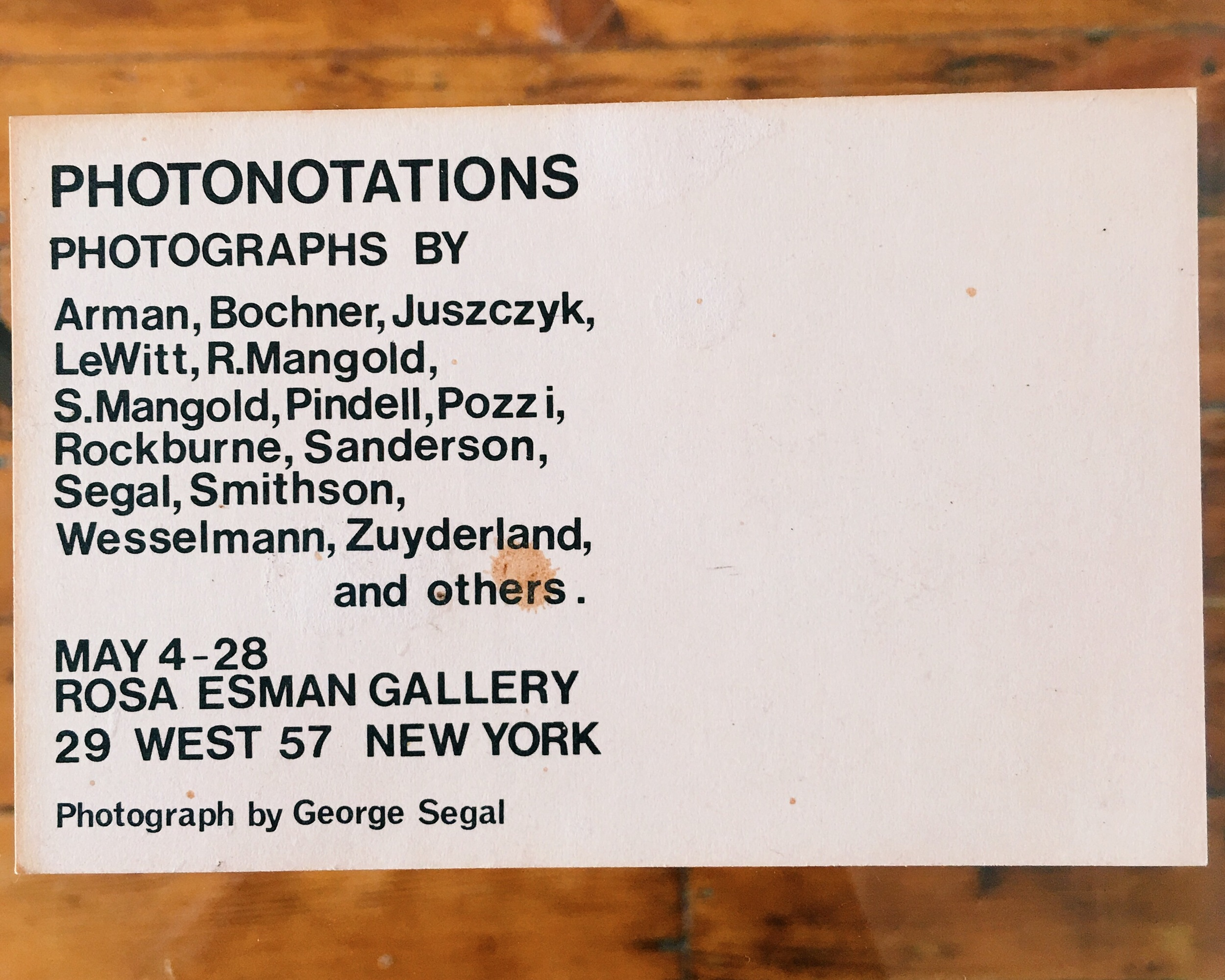 (Back of the card with info)  Rosa Esman Gallert   West 57th Street New York