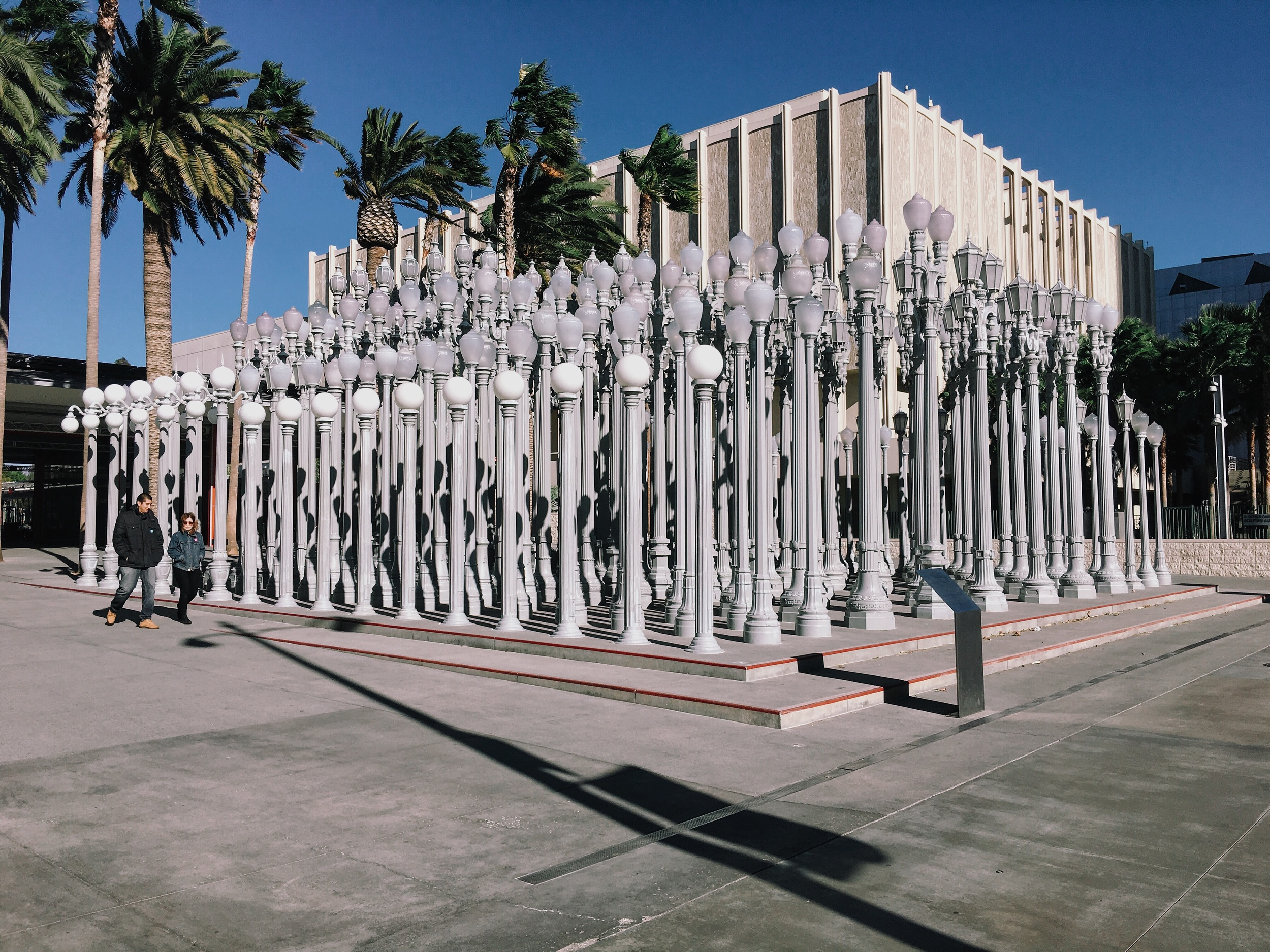 """Chris Burden's permanent light post installation in front of LACMA   This trip I feel more focused and all I'm seeing around me is what I like to call, and excuse me for projecting..., """"The organisation of junk"""""""