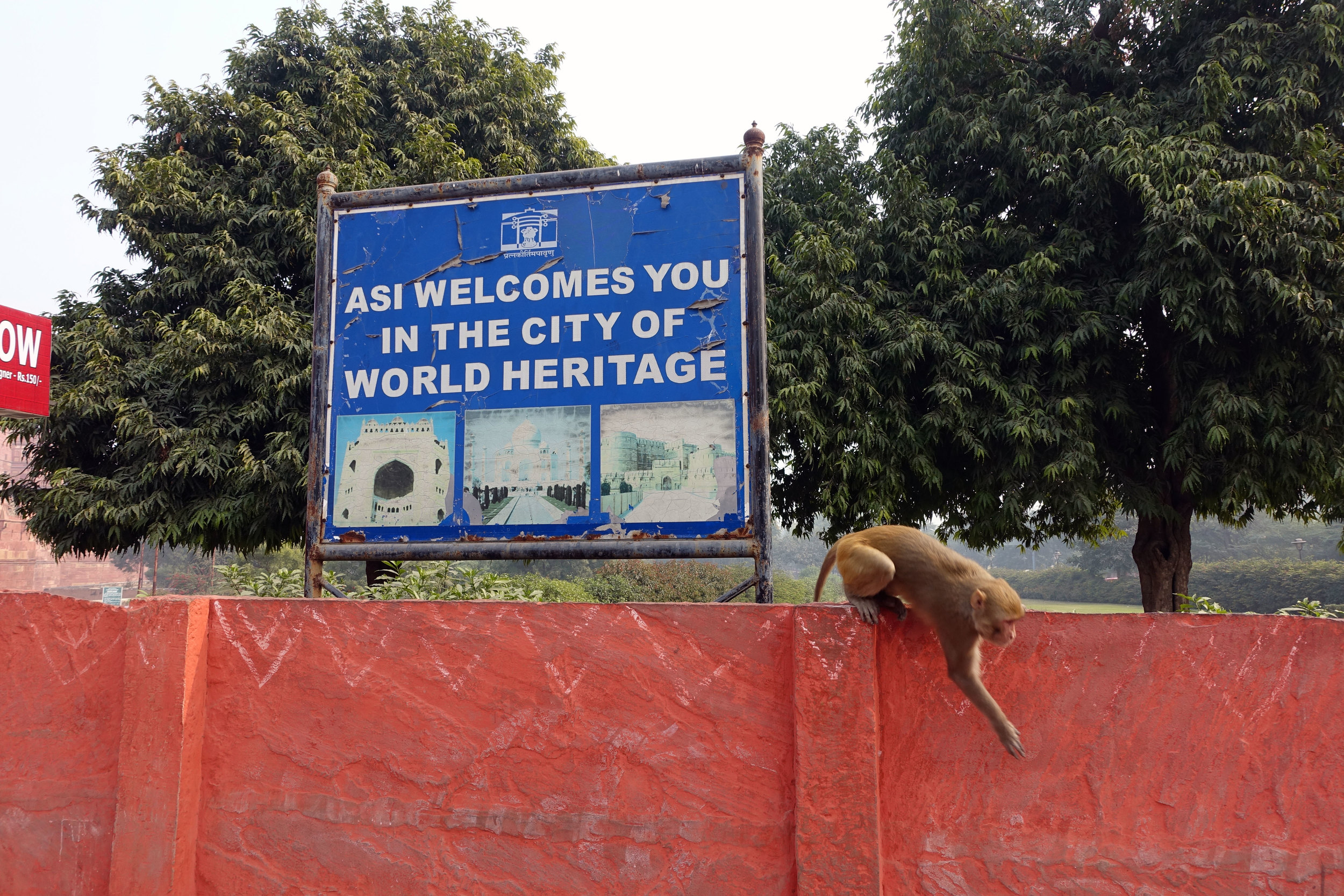 A exit/welcome sign complete with live monkey's designating the Fort as a  World Heritage  landmark