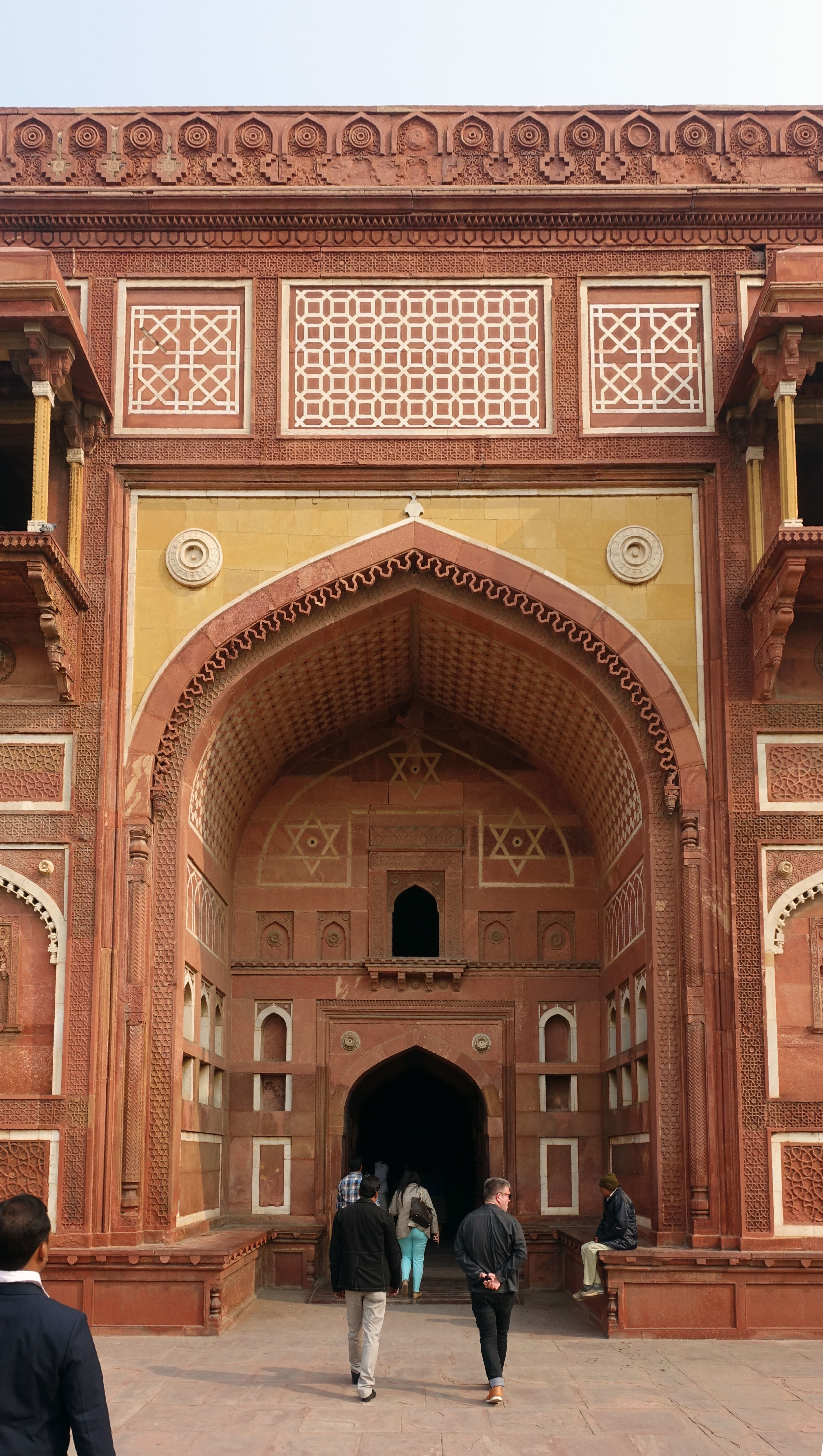 The entrance to  Jahangir Palace, complete with Buddhist, Christian, Muslim and Hindu religious iconography to welcome people from all walks of life