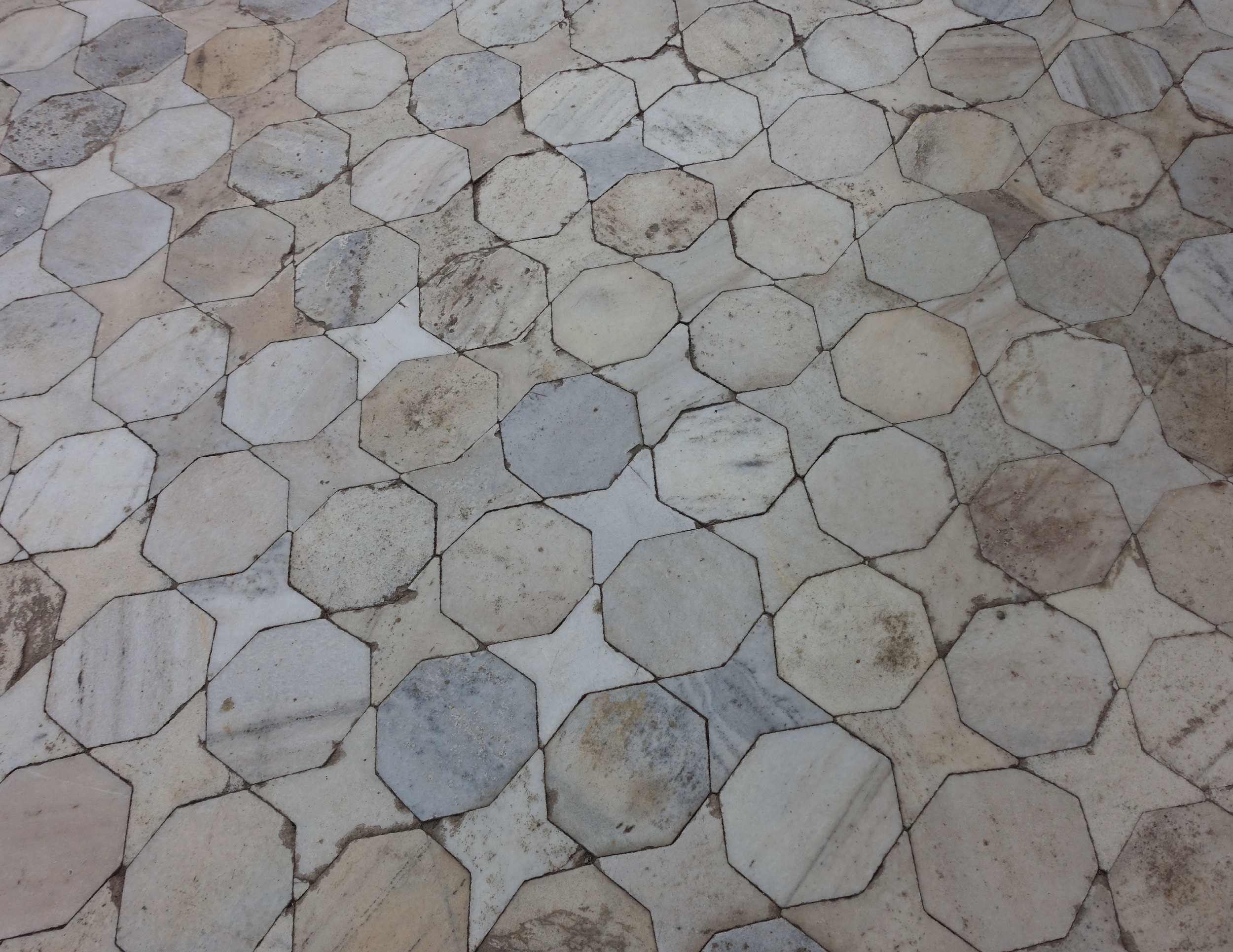 geometric marble floor tile