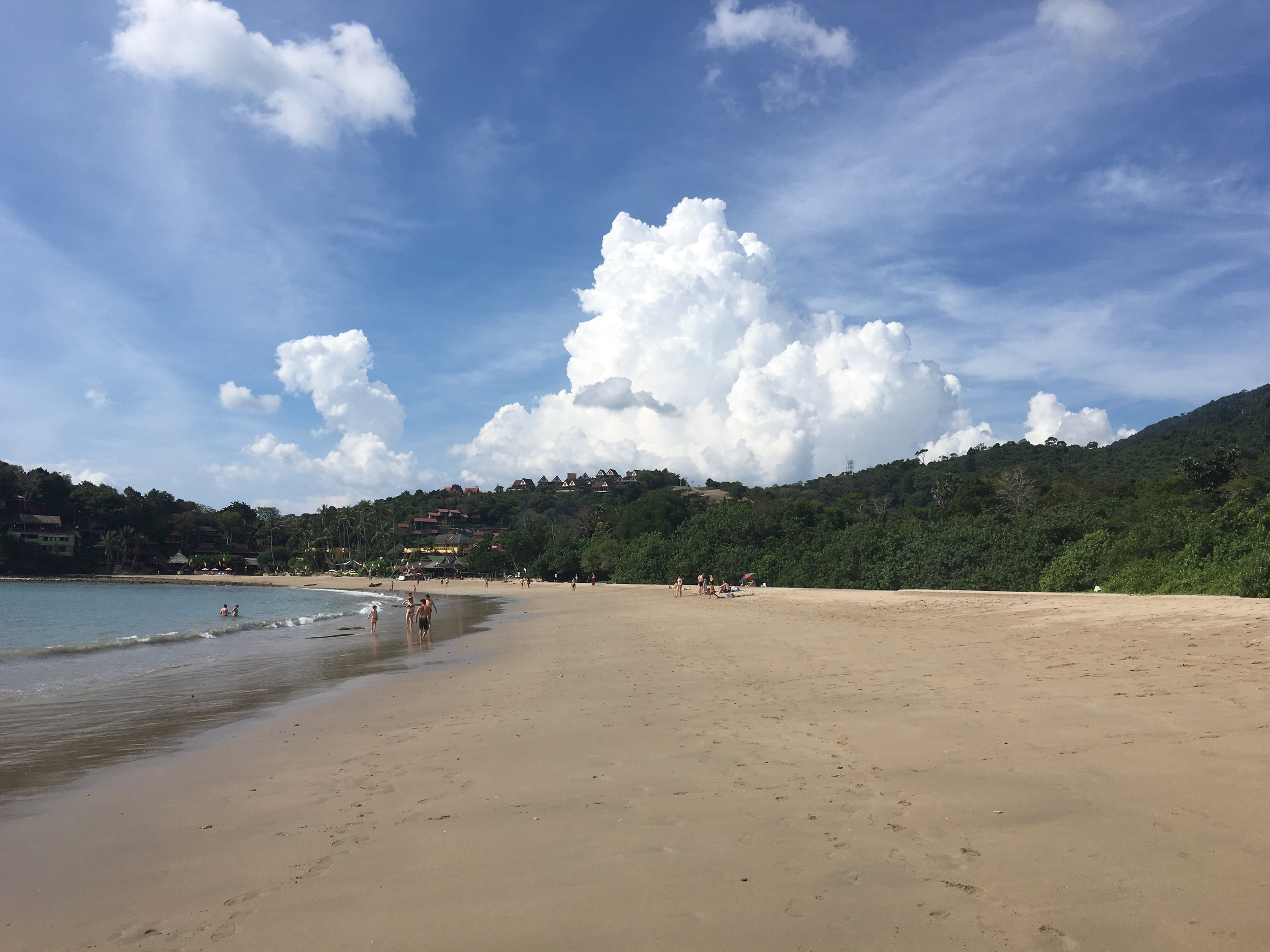 Pimalai Beach with its fluffy clouds and blue serene sky