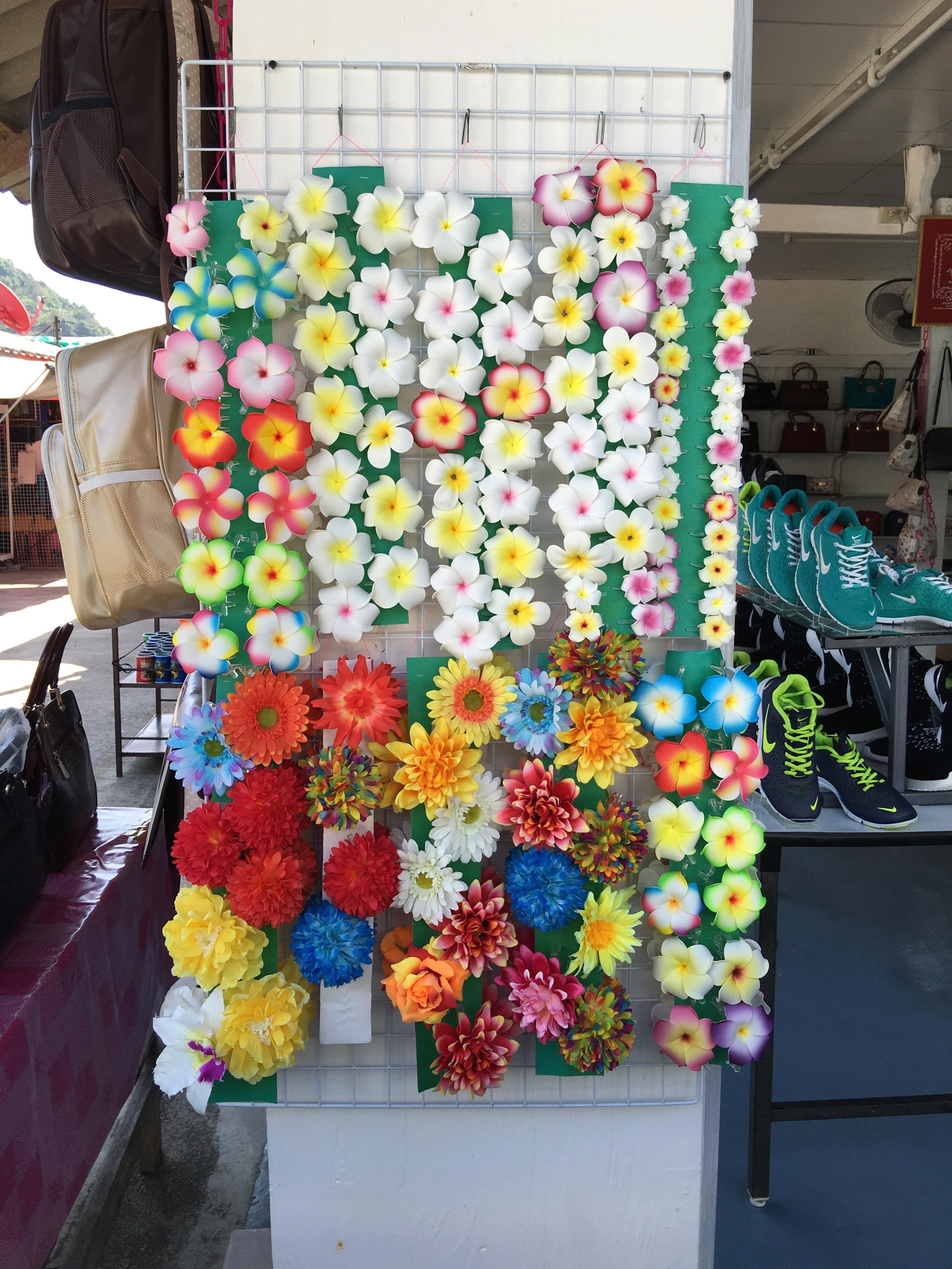 a weird artificial flower display