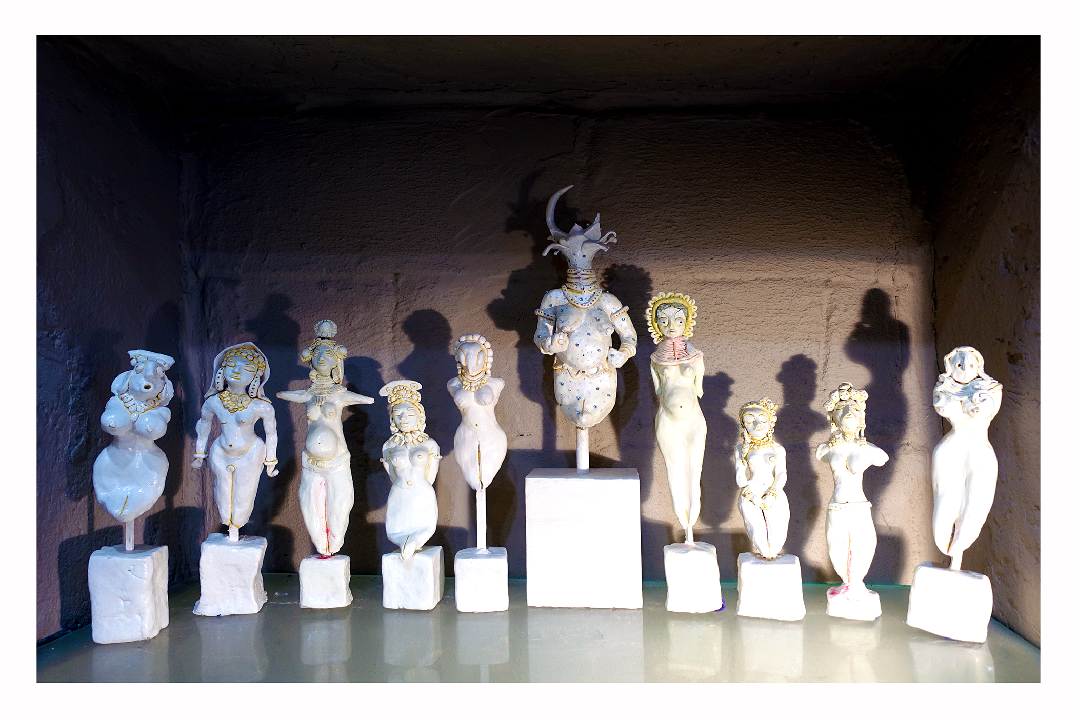 10 Standing Goddesses by  Jaishri Abichandani from a body of work of 108 pieces inspired by a childhood psyche recollection.