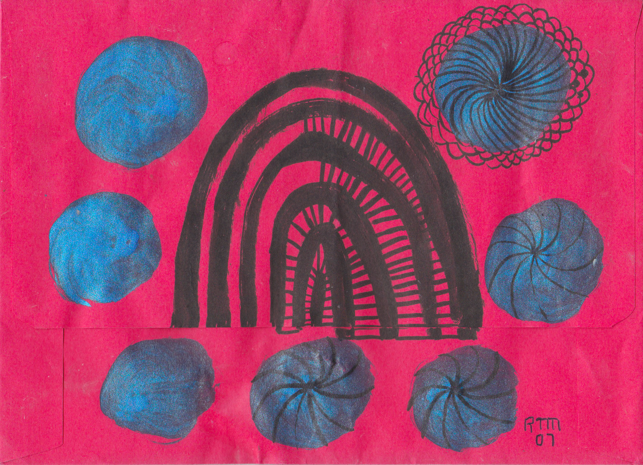 Black Portal surrounded by 4 active and 3 passive blue portals , 2007, acrylic ink and marker pen on red envelope, 5.25 x 7.25 inches