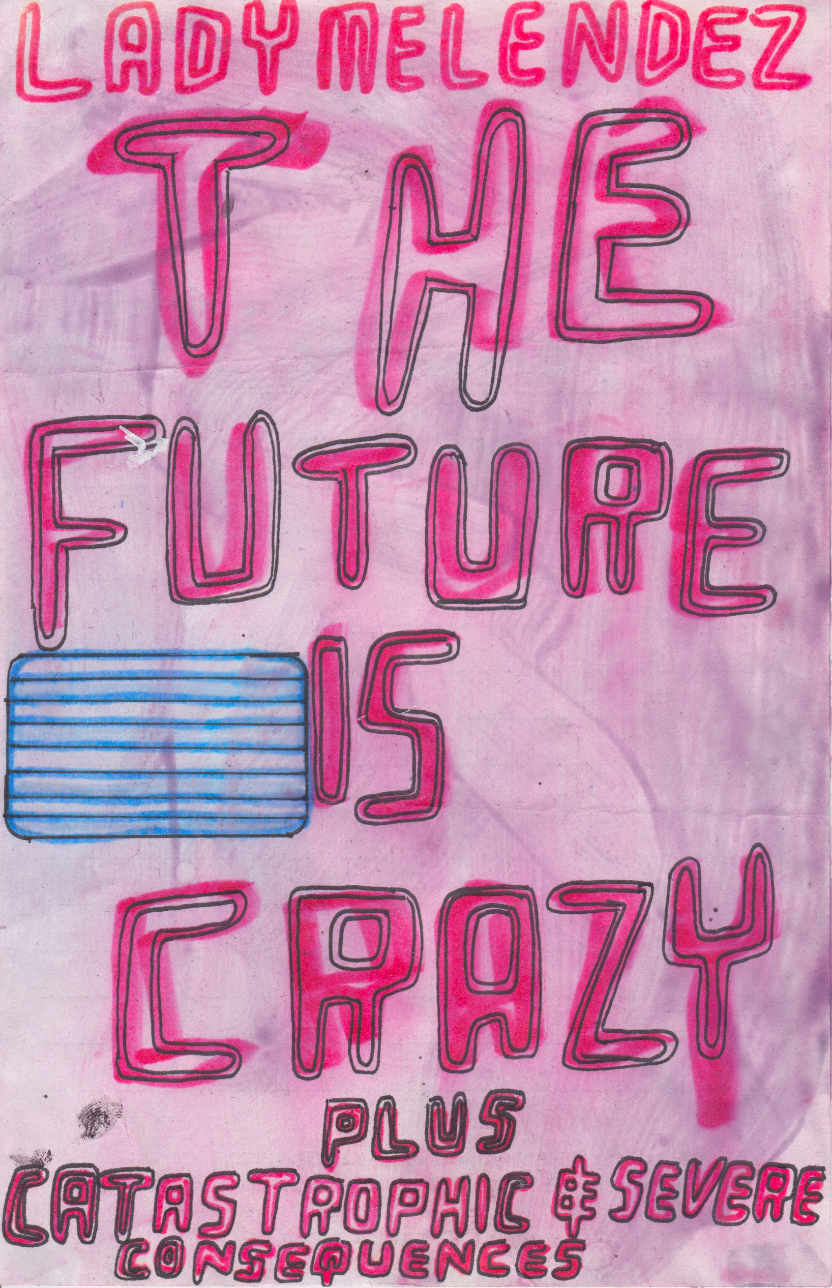 The Future is Crazy , n.d.  , Watercolor Marker, marker pen and gel medium on paper, 8.25   x 5.25   inches