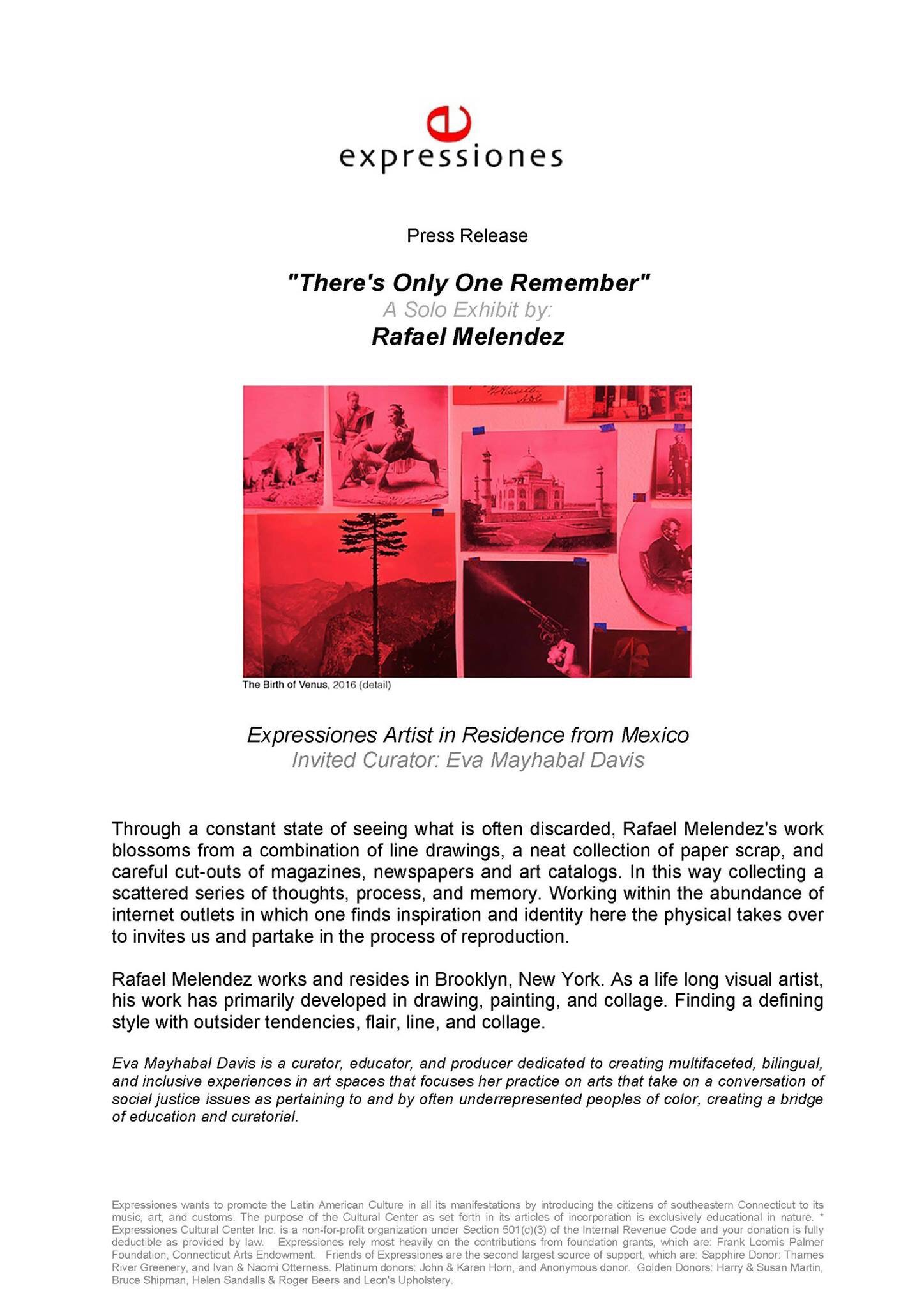 Press Release Rafael Melendez There's Only One Remember  Opening April 29th Expressiones Cultural Center