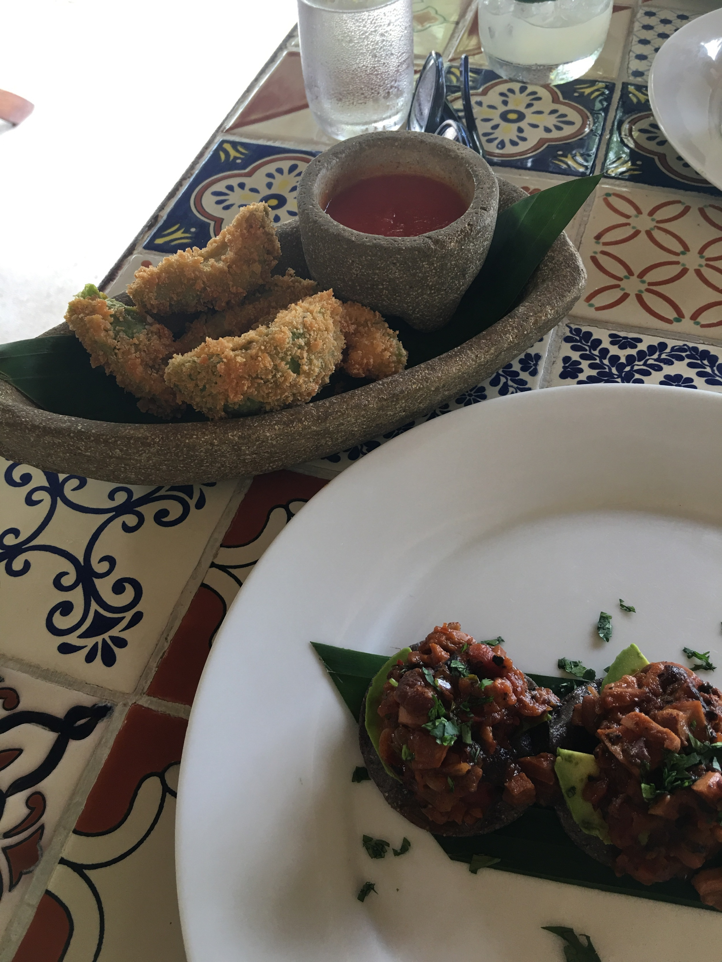 Avocado fries and  braised octopus tostaditas