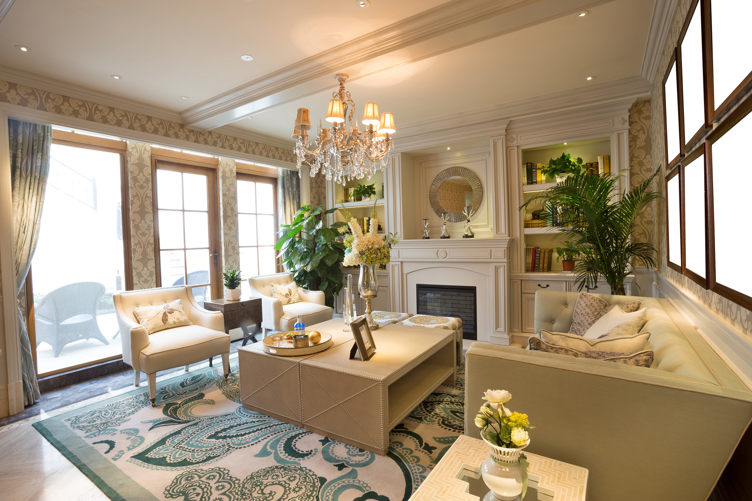 KHB INTERIORS New Orleans Interior Design Day of Design Bookcases and Furniture Layout