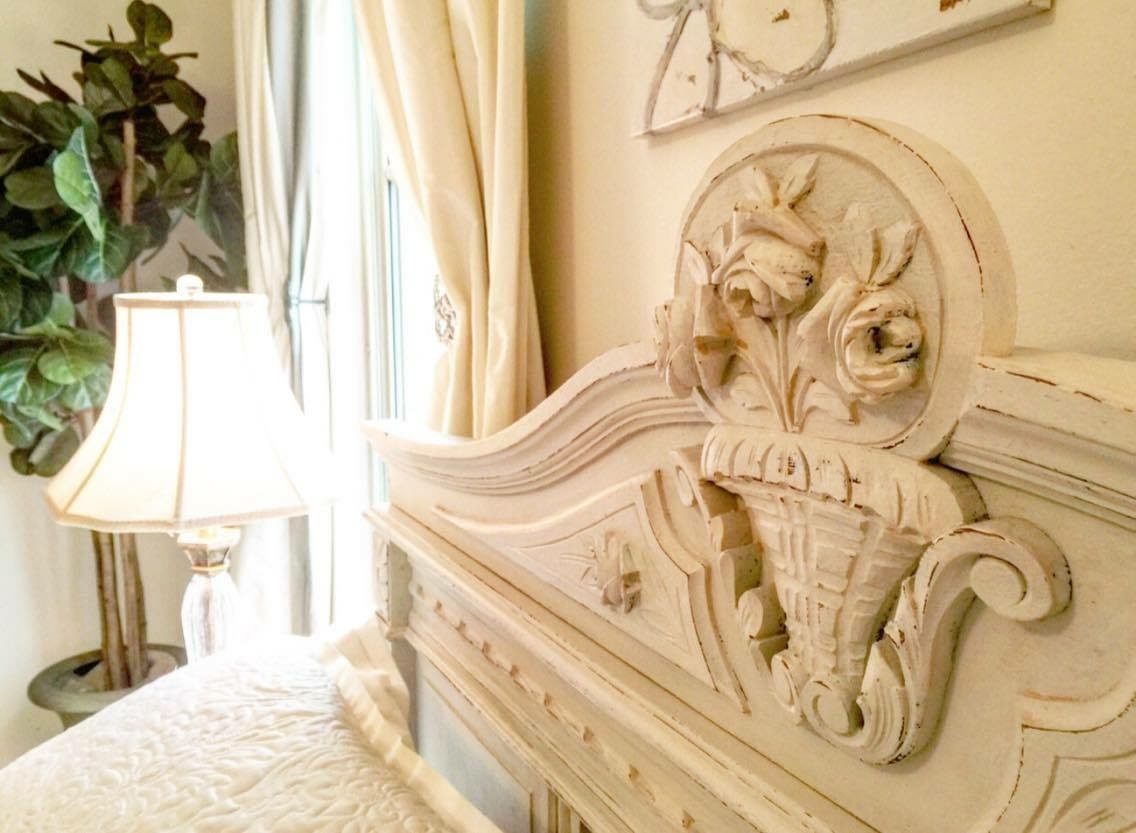 antique bedroom head board metairie residential interior design khb interiors