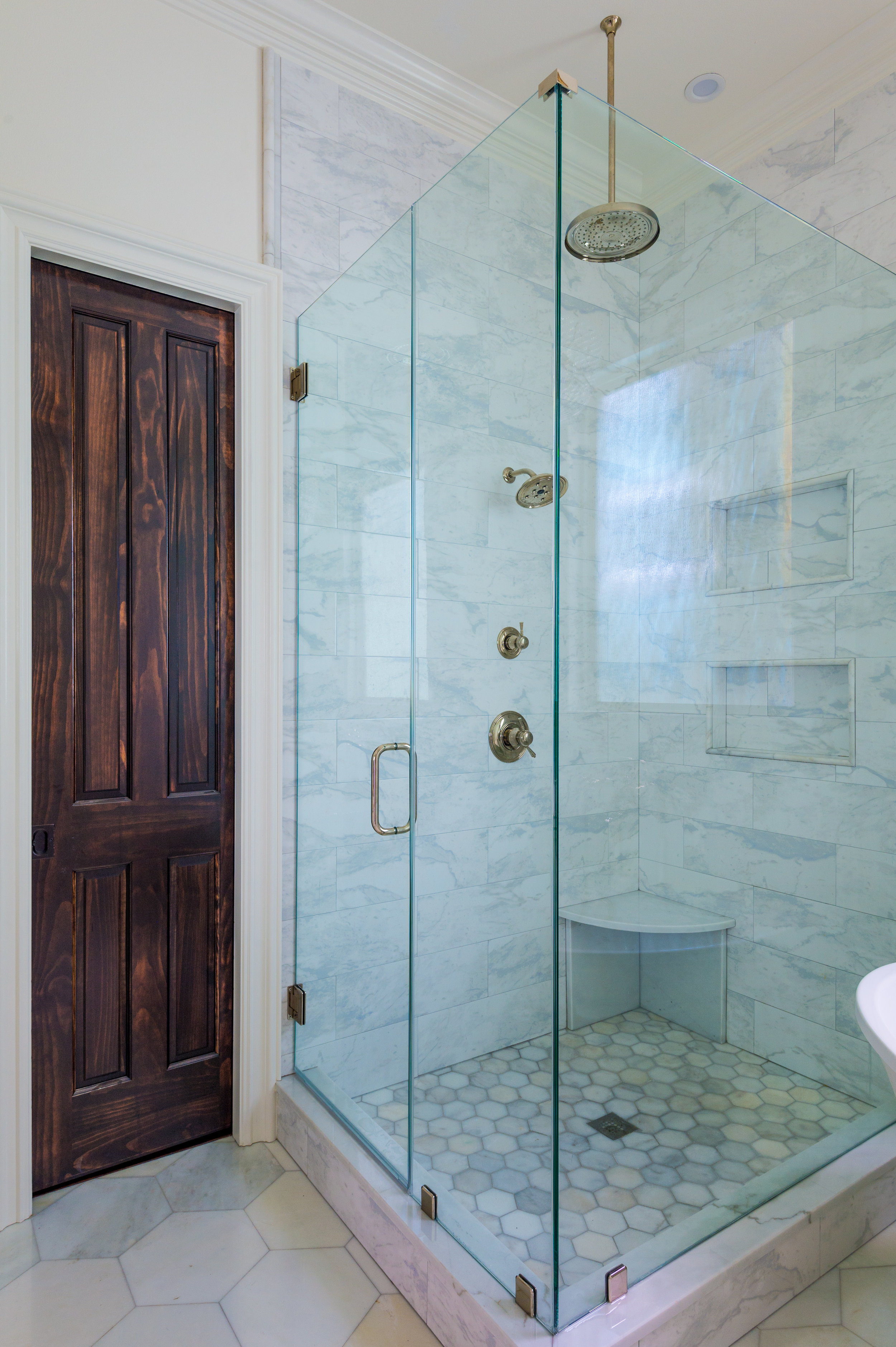 bathroom corner shower new orleans interiors khb interiors