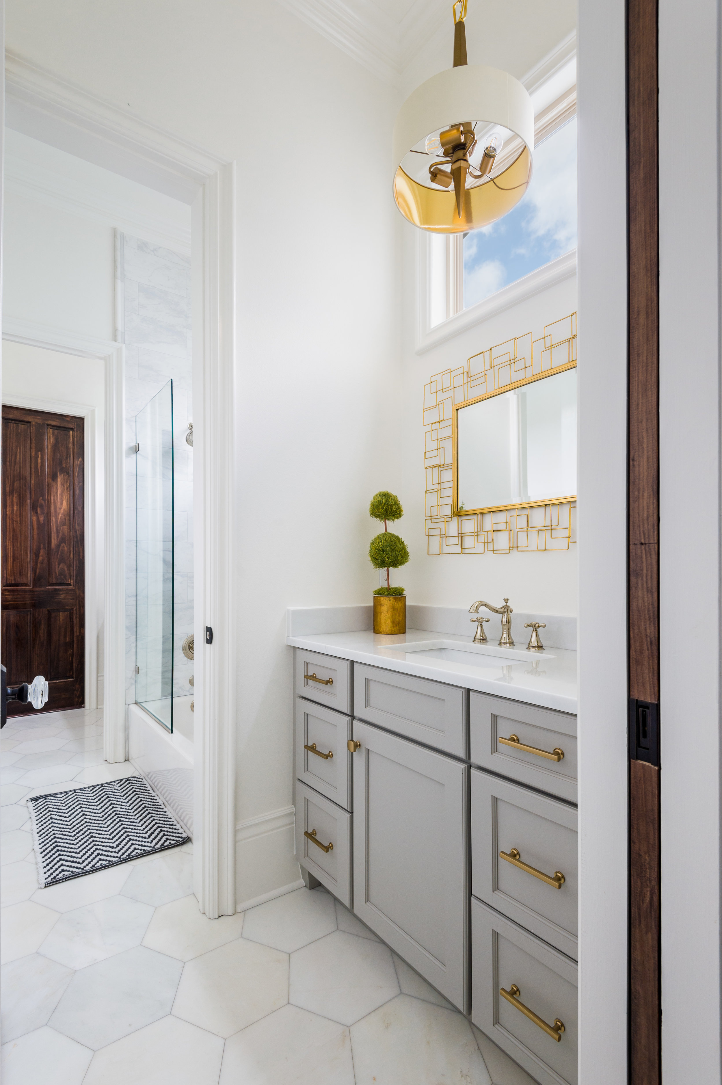 gray gold master bathroom vanity new orleans home interiors khb interiors