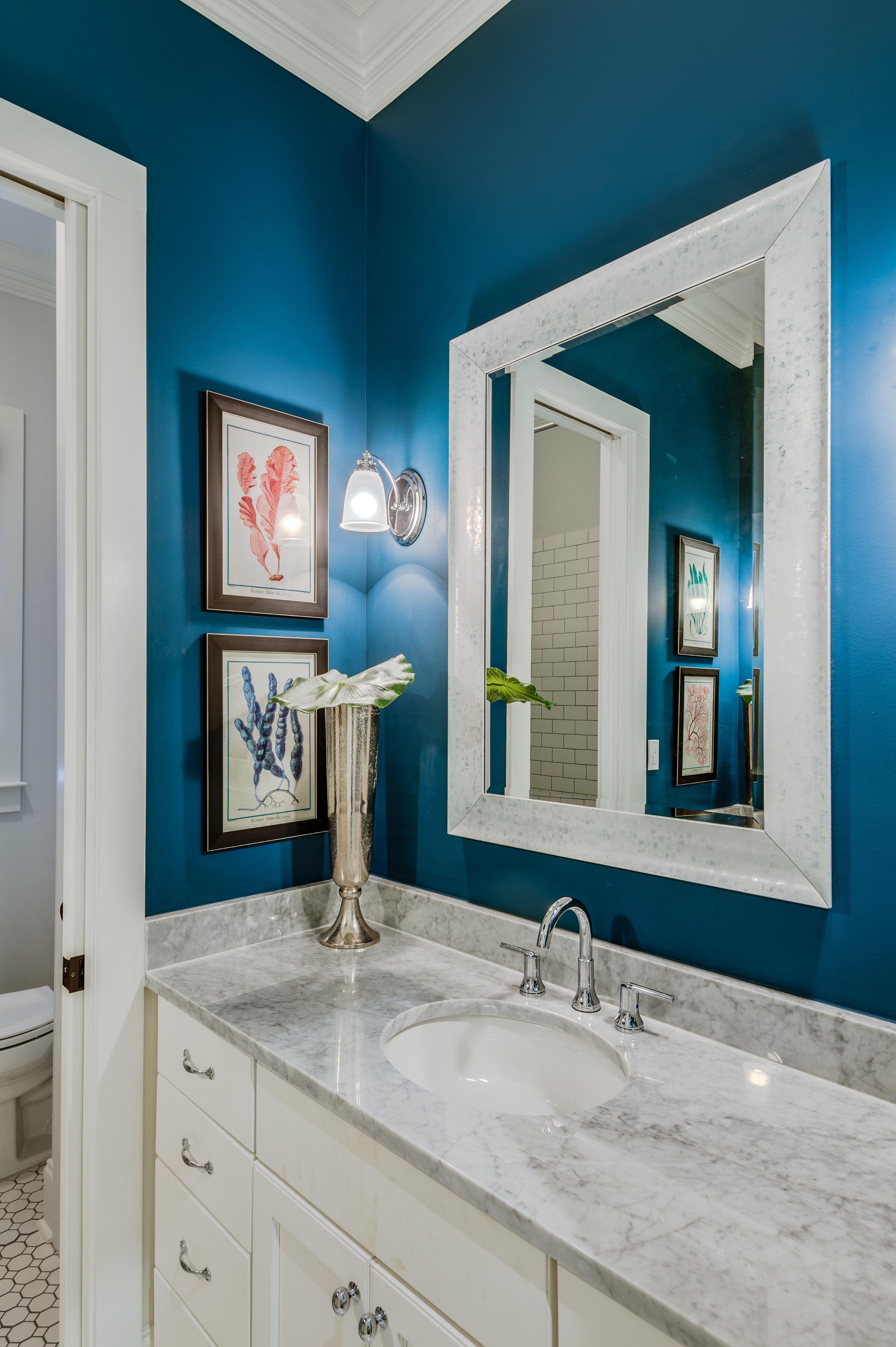 blue and white bathroom metairie luxury interior design khb interiors