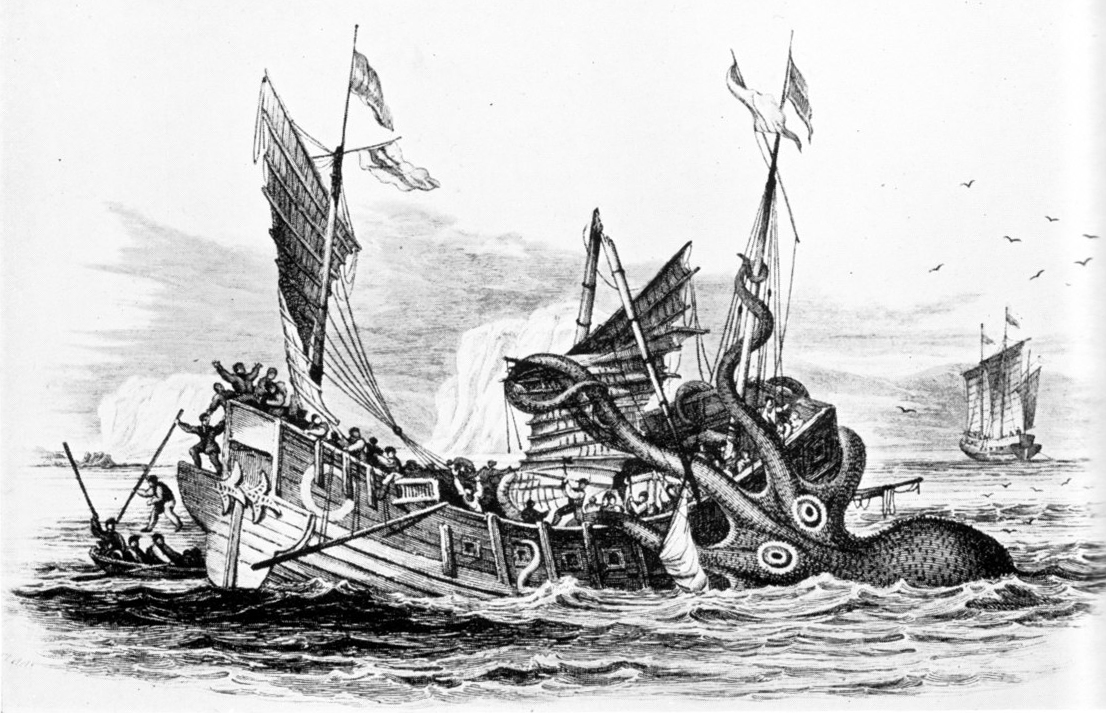 Kraken attacking merchant ship | [public domain]