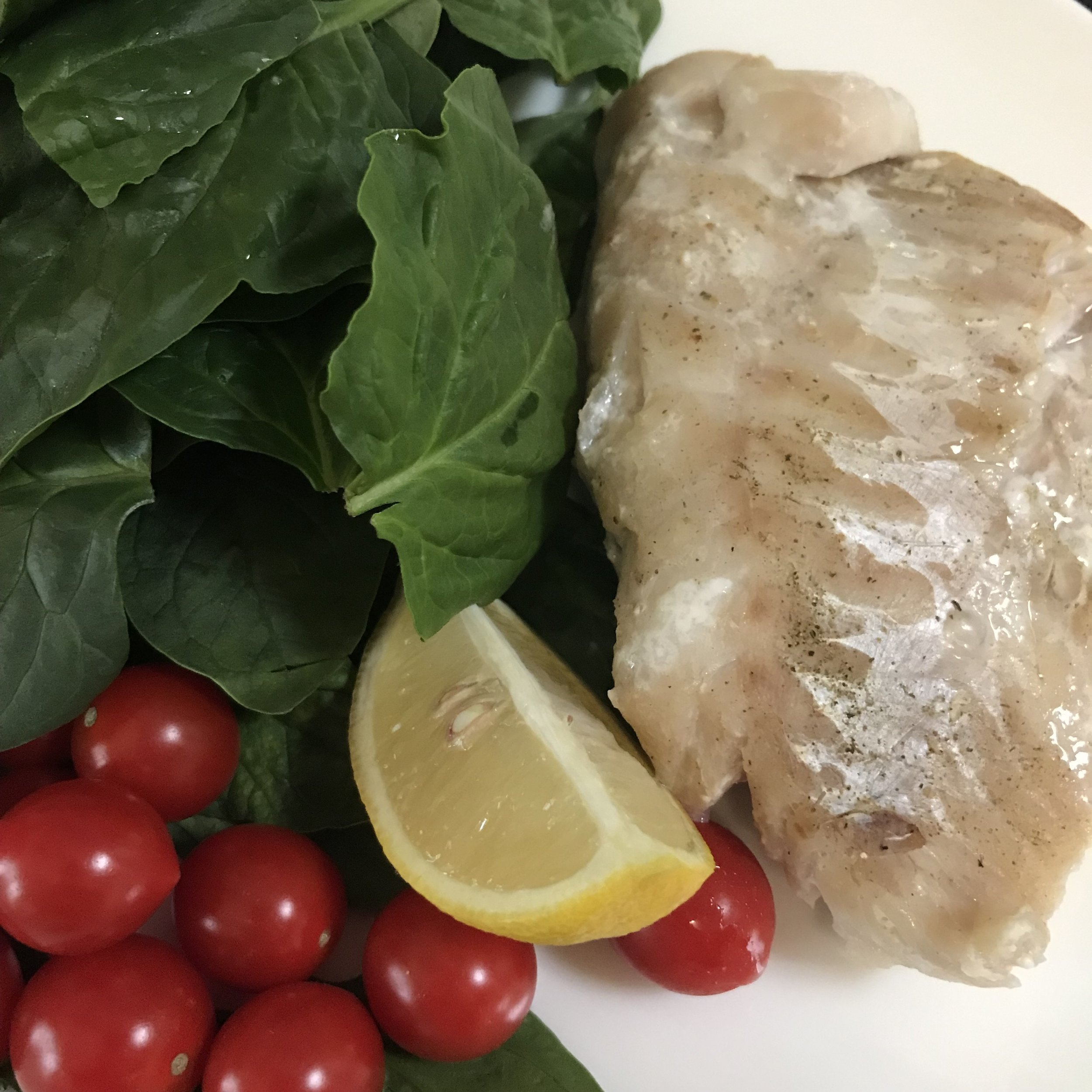 Baked Fish with Baby Spinach & Cherry Tomatoes