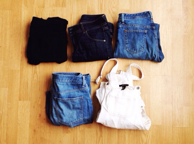 4 pairs of jeans and my beloved overalls