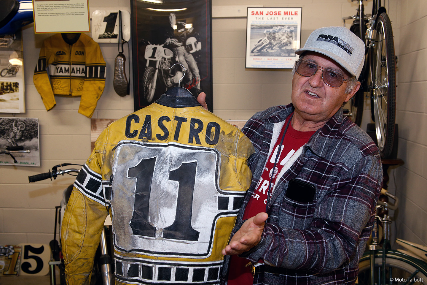 Hall of Famer Don Castro with some of his racing memorabilia, which is all part of a special display at Moto Talbott, along with his motorcycles.