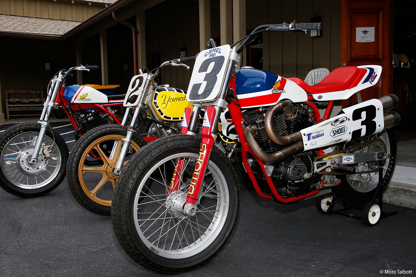 From left to right: rare Honda RS 600 flat tracker owned and restored by Anthony Giammanco; Yamaha dirt track bike belonging to Grand National Champion Kenny Roberts; Honda RS 750 twin factory racer.