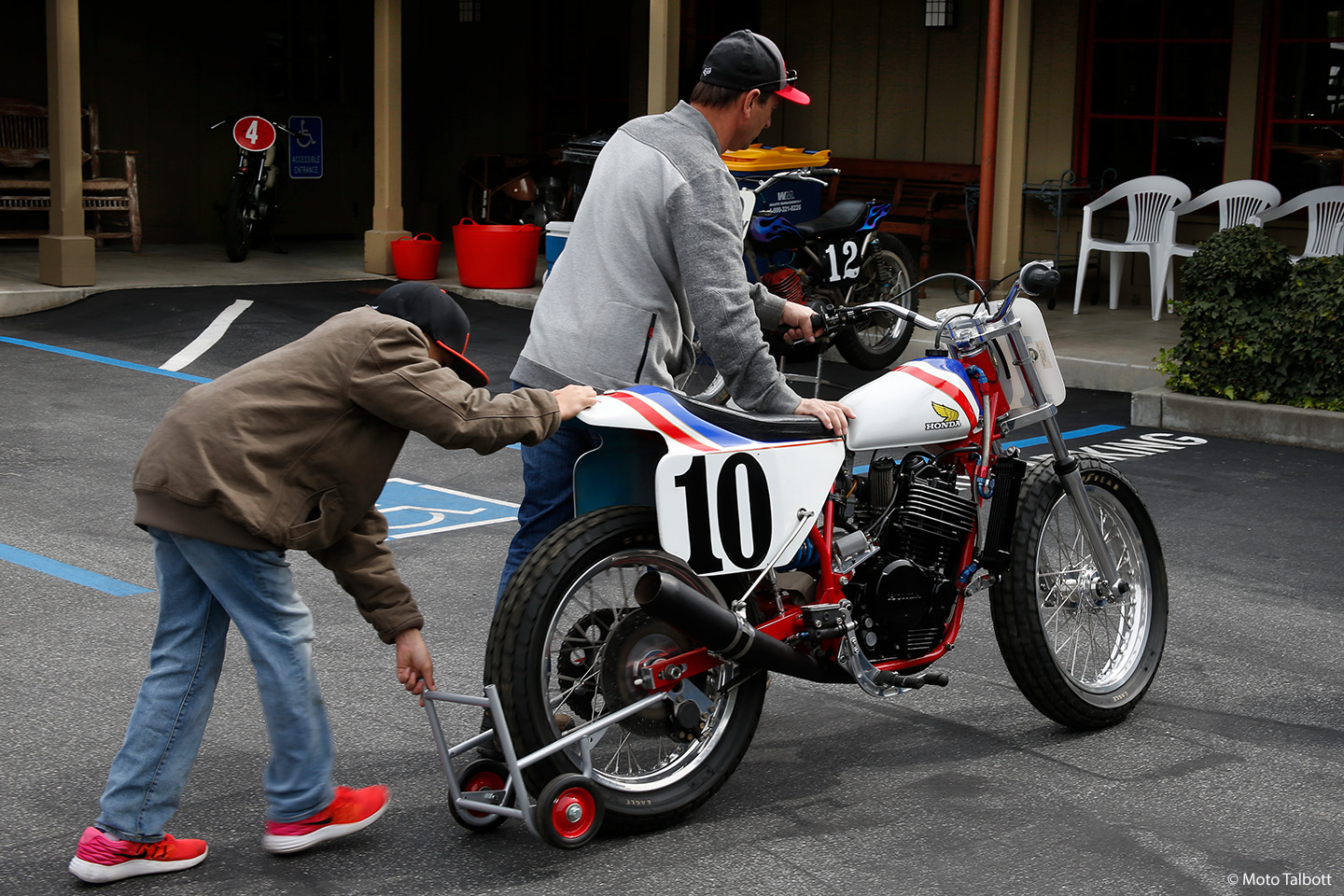 Honda RS 600 ridden by Hall of Fame rider and local resident Doug Chandler, being wheeled in by Anthony Giammanco.
