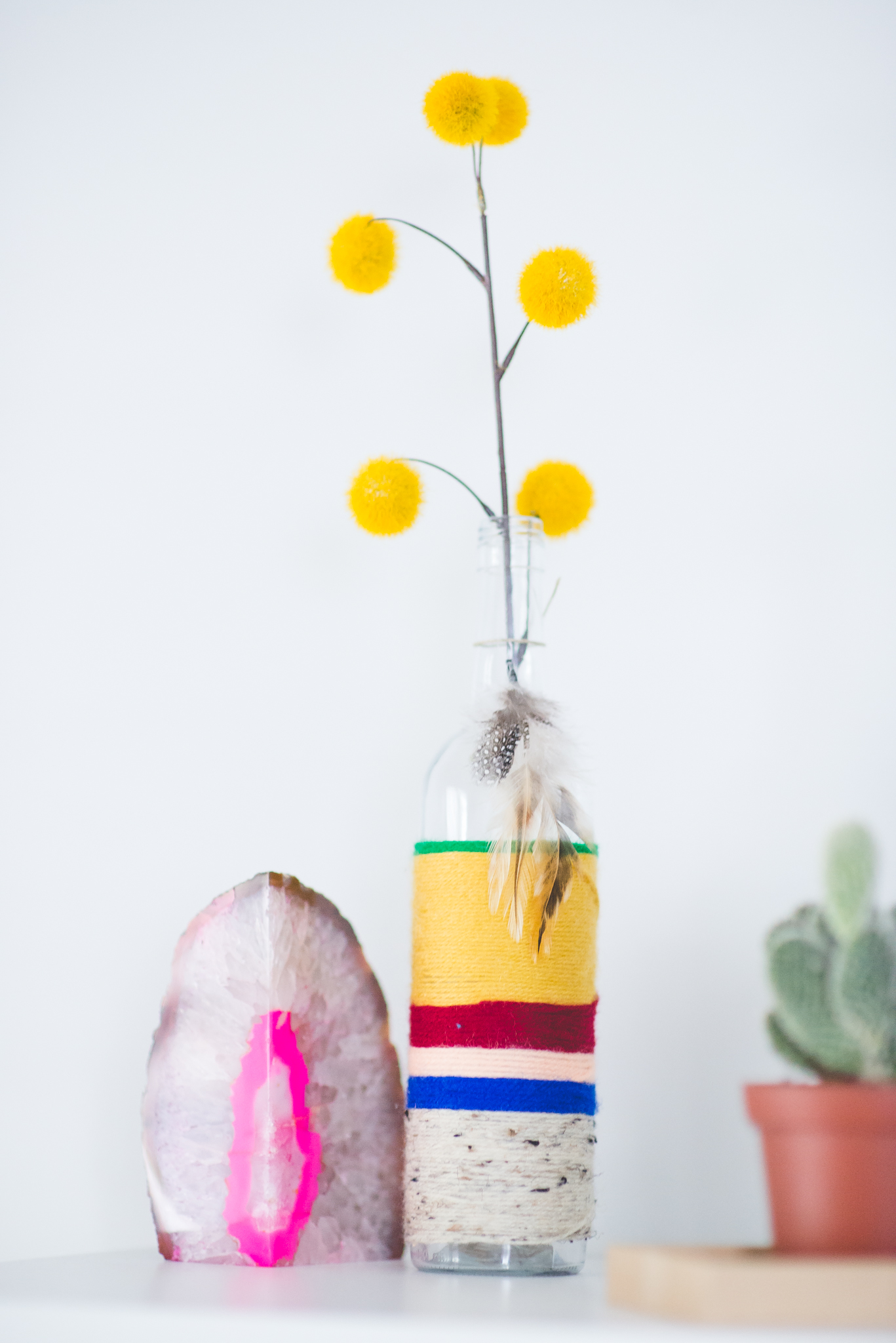 Boho Chic Yarn Bottle | Yellow Billy Balls | Hobby Lobby | Bohemian Decorations | DIY | Boho Office | Boho Room | Laraina Hase
