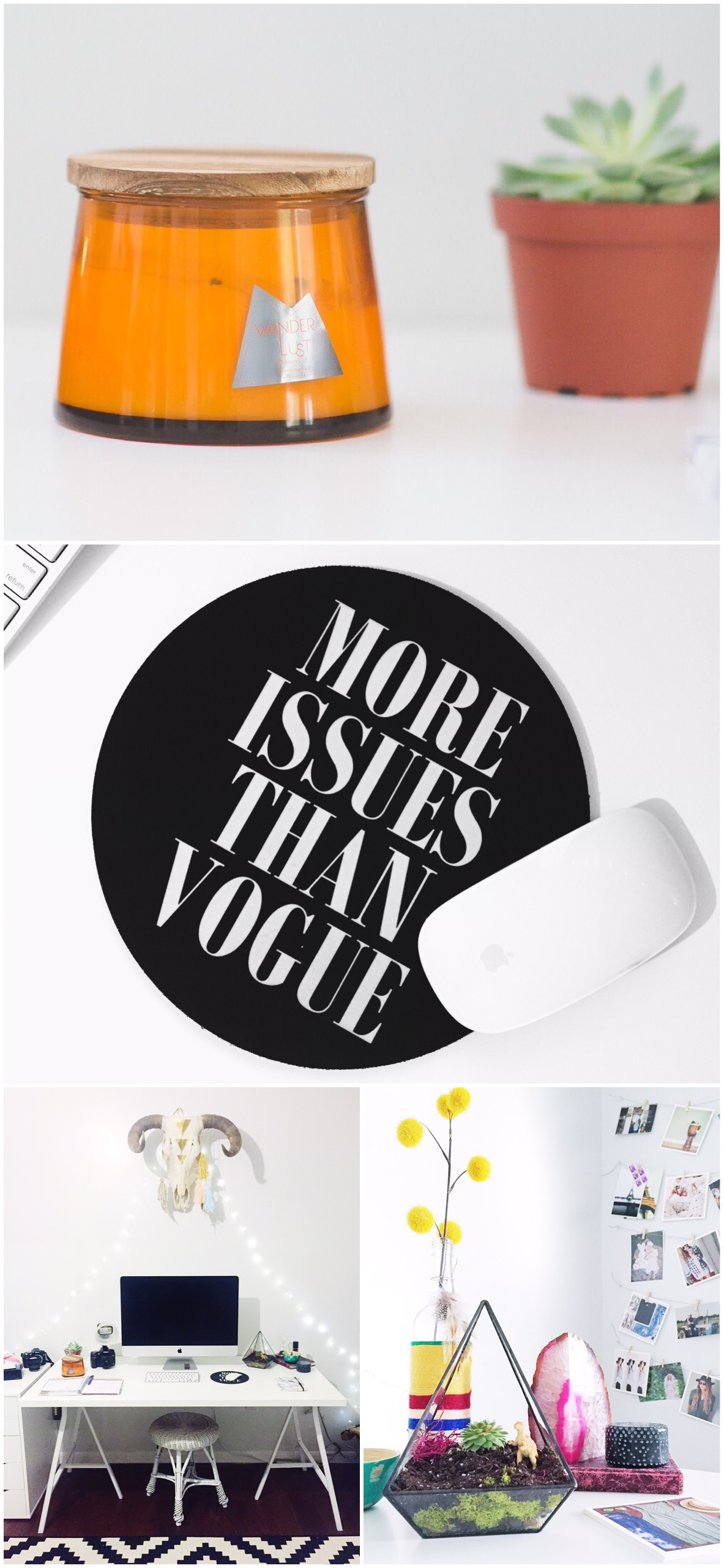 Office Desk Decoration | Urban Outfitters | More Issues Than Vogue | Boho Chic Office | Bohemian | Laraina Hase