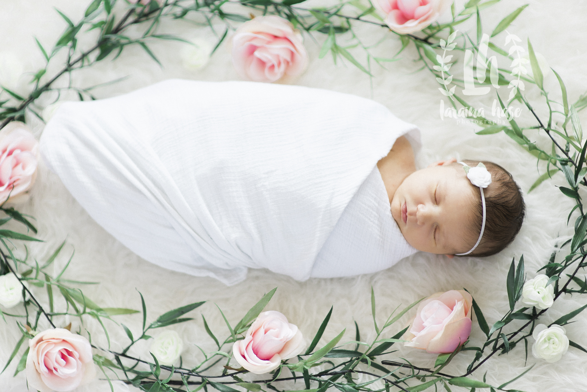Newborn Photography Floral Oval Around Baby