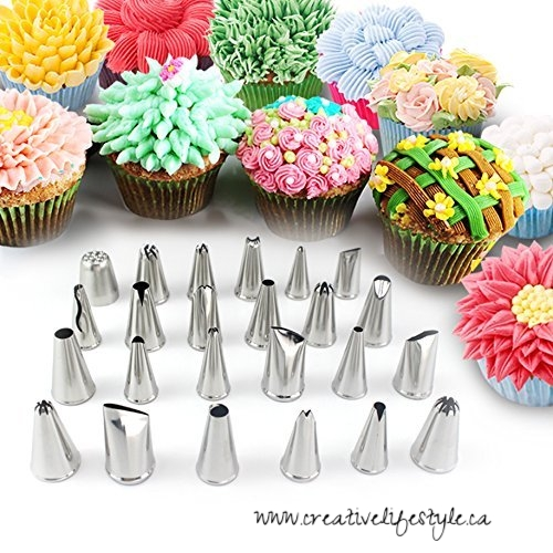 Newlemo 24 Piece Stainless Steel Icing Tips Set