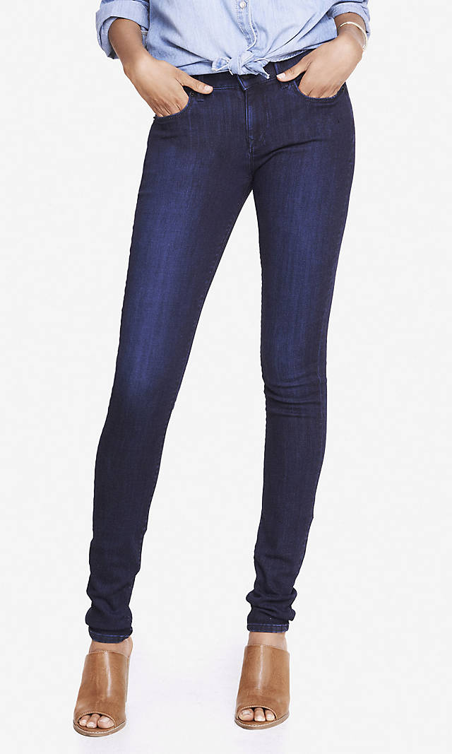 Dark Wash Mid Rise Jean Legging  (affiliate link) / Photo Credit:  Express  (affiliate link)