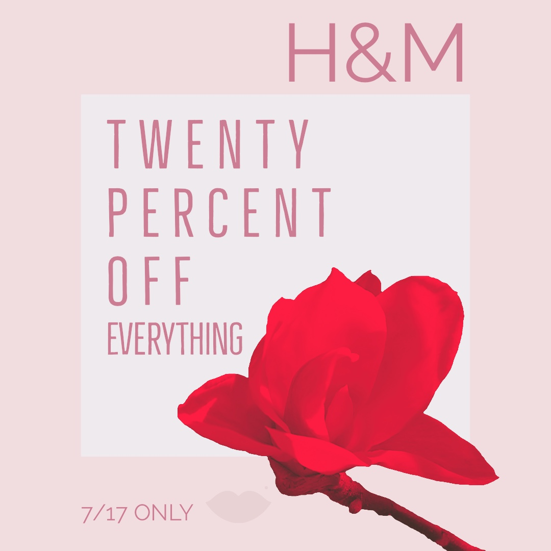 h&M sale on everything in store and online