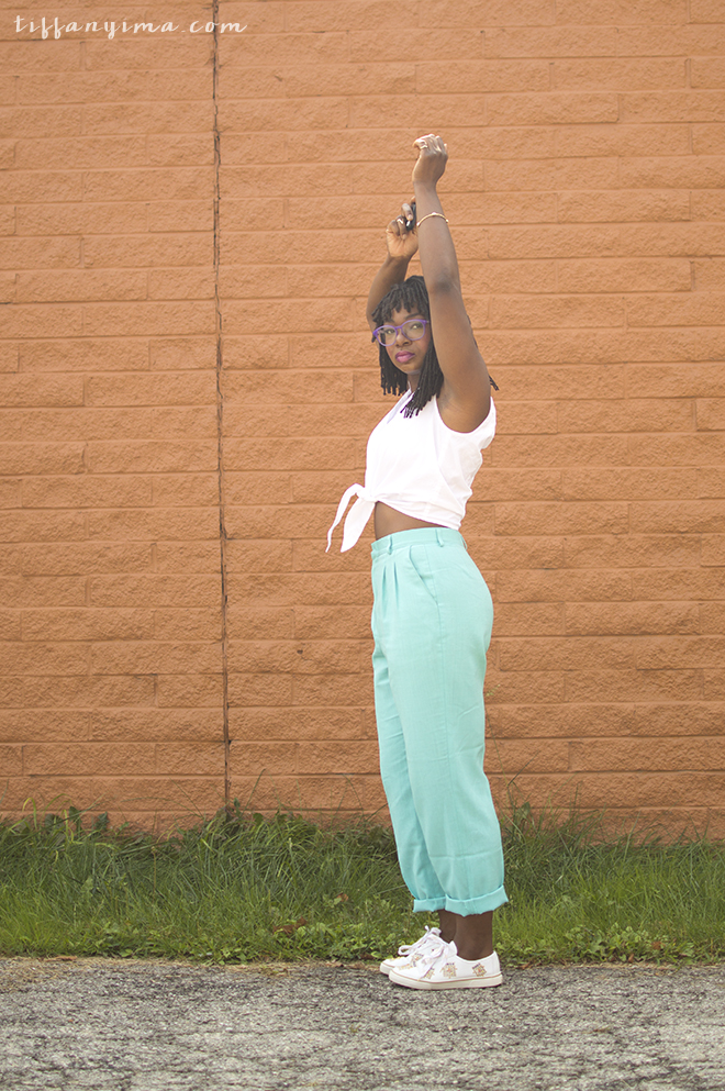 Vintage mint pants with a sleeveless white tie front button down top. Paired with my bingo sneakers.