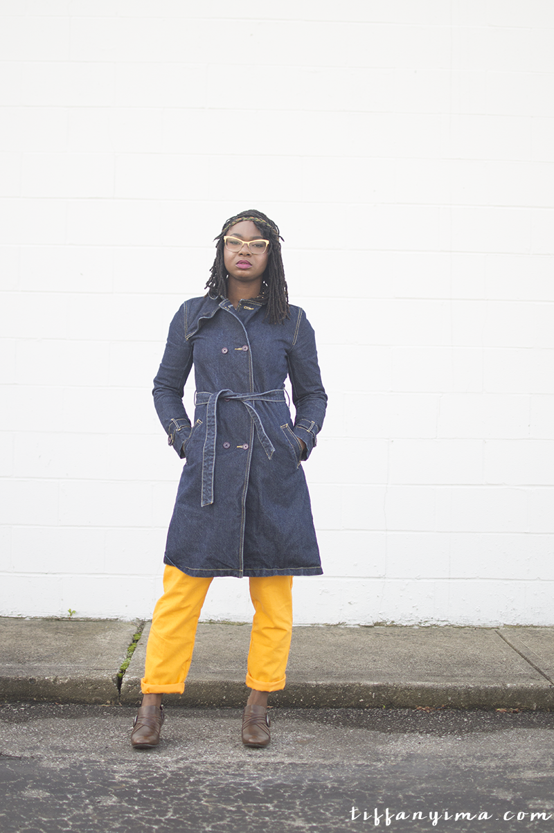 Thrifted denim trench coat paired with mustard yellow pants for fall.