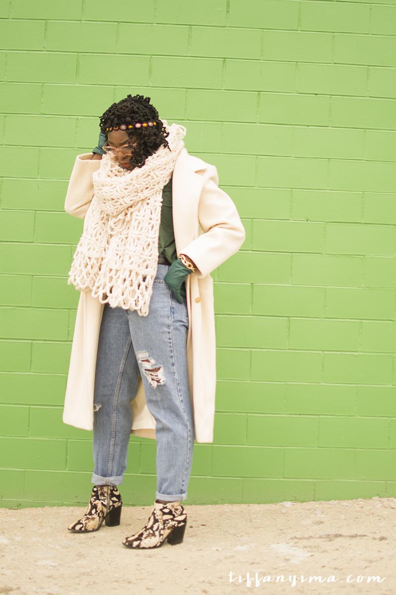 Coat: Vintage | LevI's: Vintage Thrift ( Similar )| T-shirt: Gap ( SImilar ) | Scarf: Thrifted Throw Blanket| Bracelet: Express ( SImilar )| Boots: loeffler randall (last year,  similar )