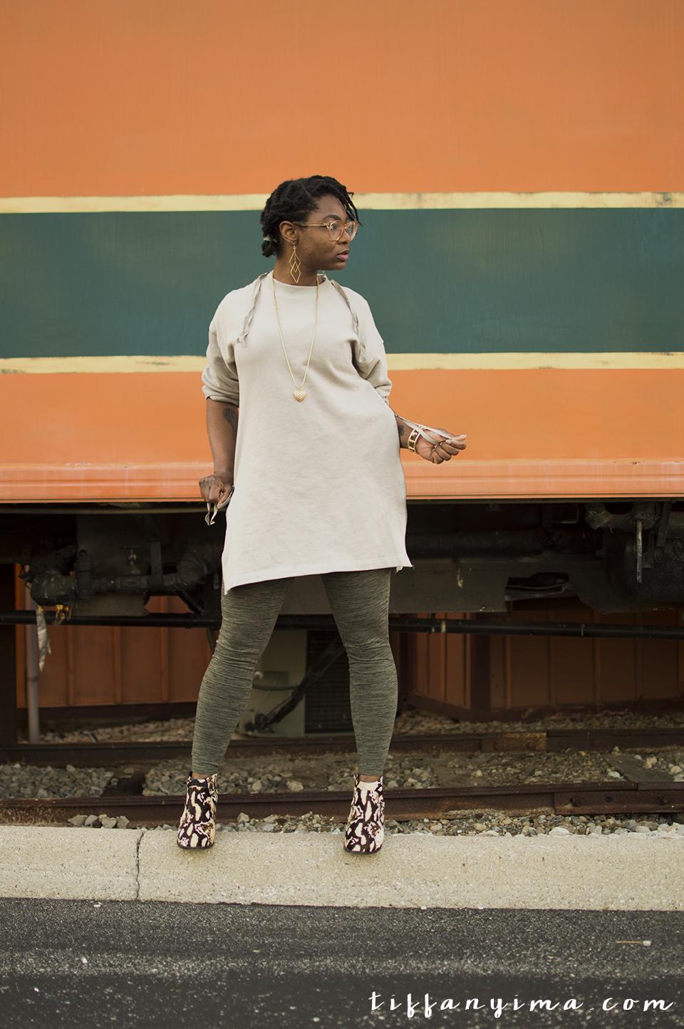 Tobi Final Song Zipper Dress (50% off your first order!)|Loeffler Randall Leopard Booties ( Similar ) |Express Leggings ( Similar ) | Thrifted Necklace