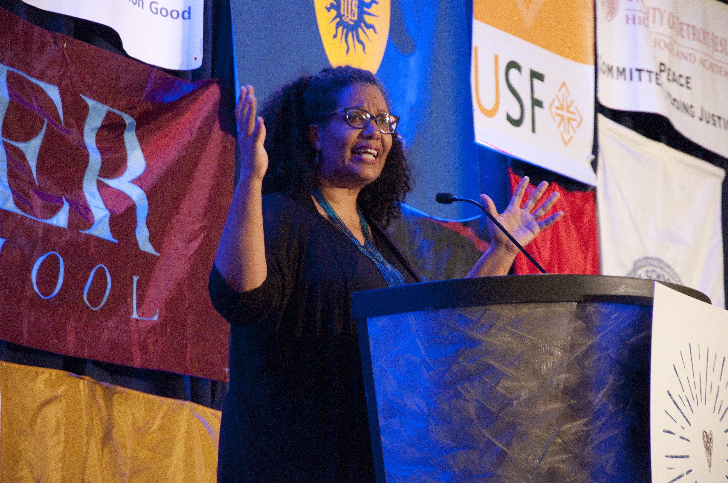 Keynote speaker Lisa Sharon Harper of Sojourners Magazine