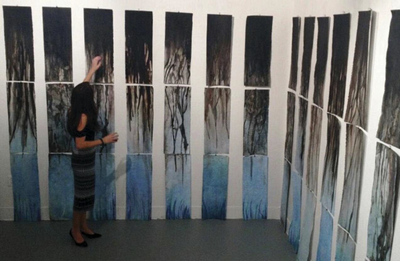 Senior, Art and Communications major, Abigail Abrams, for the ID 395 Water Theme Seminar. Water Research Project: Keystone Pipe Line. Water color and India Ink on Rives BFK paper. Installation in the Experimental Space Gallery.
