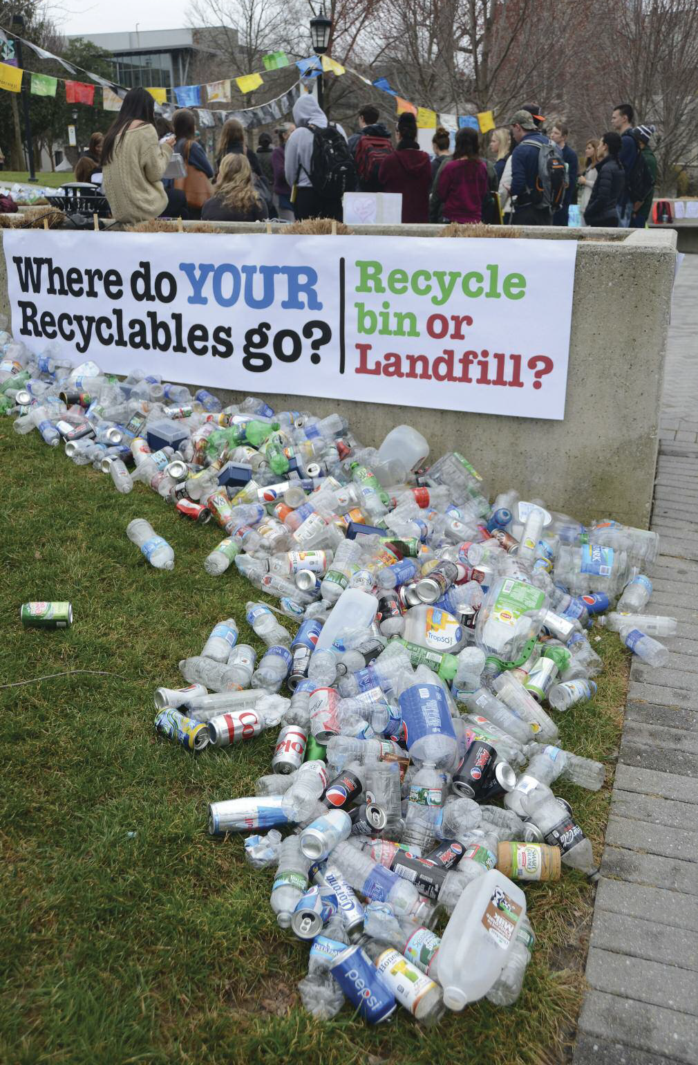 "Section of artist Bridget Parlato's ""River of Recyclables"" created in collaboration with the Loyola University Maryland community on the Quad."
