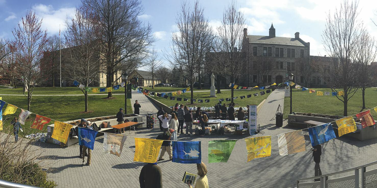 Overview of the installation hub on March 15, Loyola University Maryland Quad.