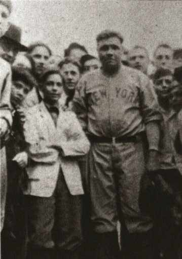 Babe Ruth visited Stan Galle Field to demonstrate his mighty swing in an exhibition game.