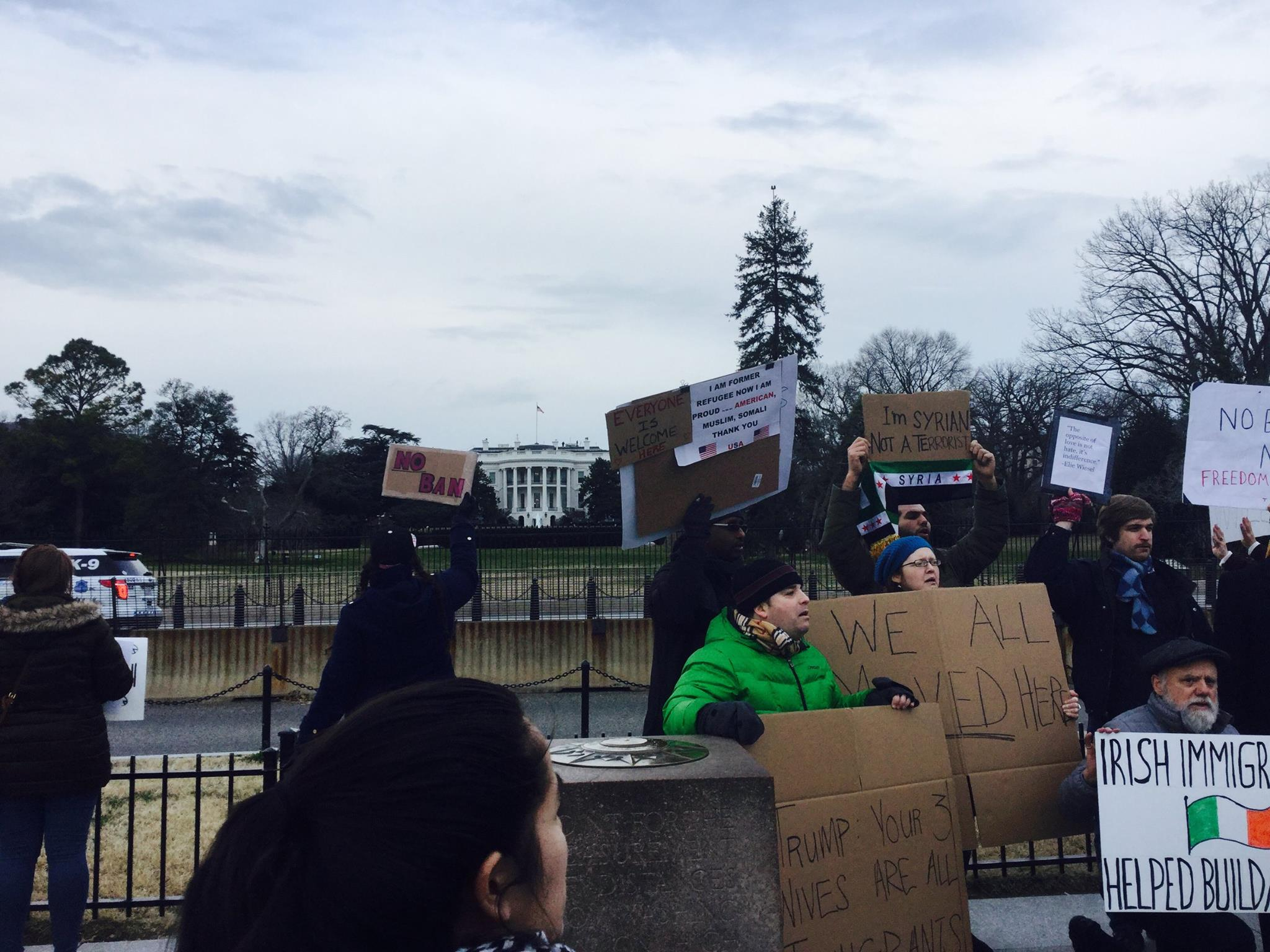Hundreds of protesters gathered in Washington, DC, and marched around the White House and down Pennslyvania Avenue NW towards the Trump International Hotel. Photo courtesy of Lucas Sharma, SJ.