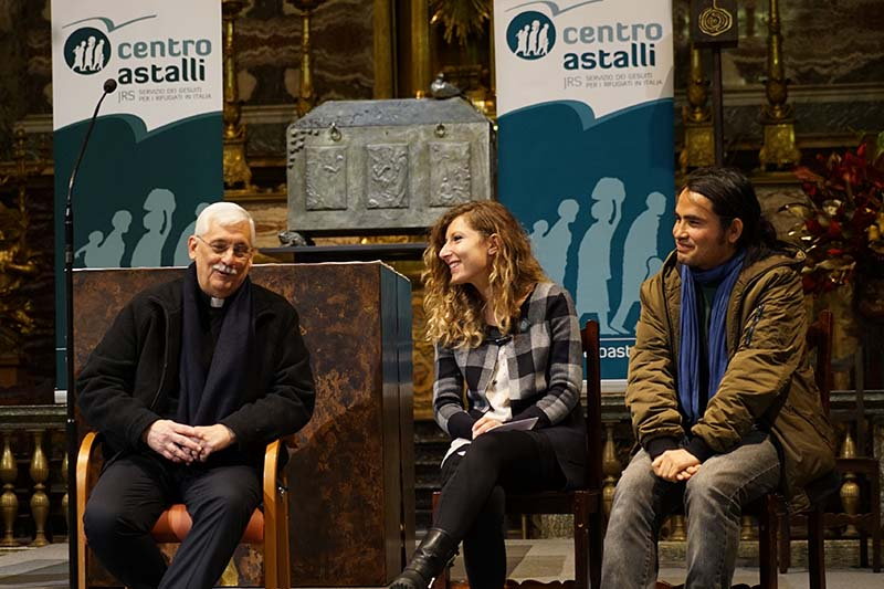 Fr. General Arturo Sosa SJ in conversation with young adult refugees. Photo courtesy of  The Jesuit Curia in Rome .