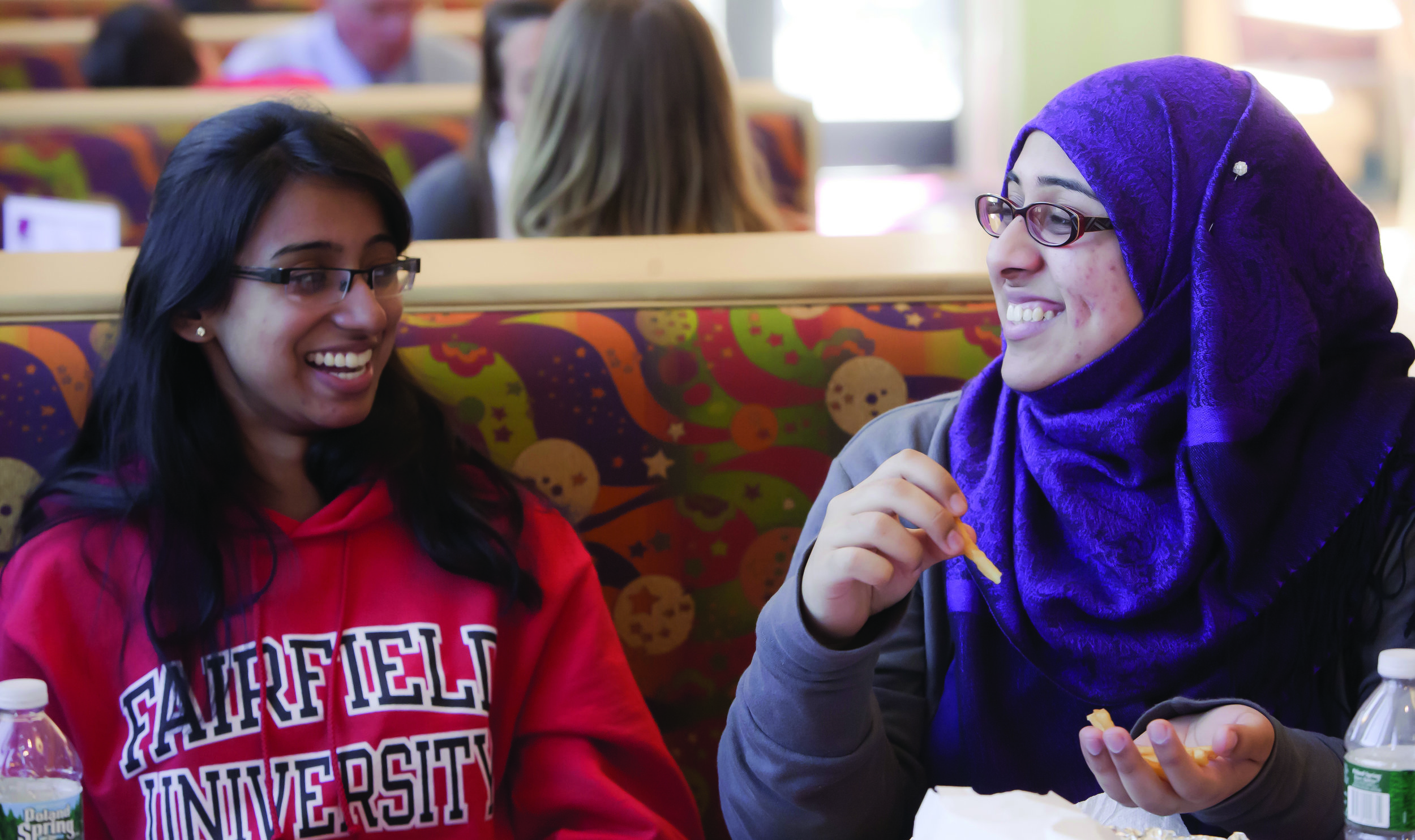 Students from  Fairfield University  enjoying lunch together
