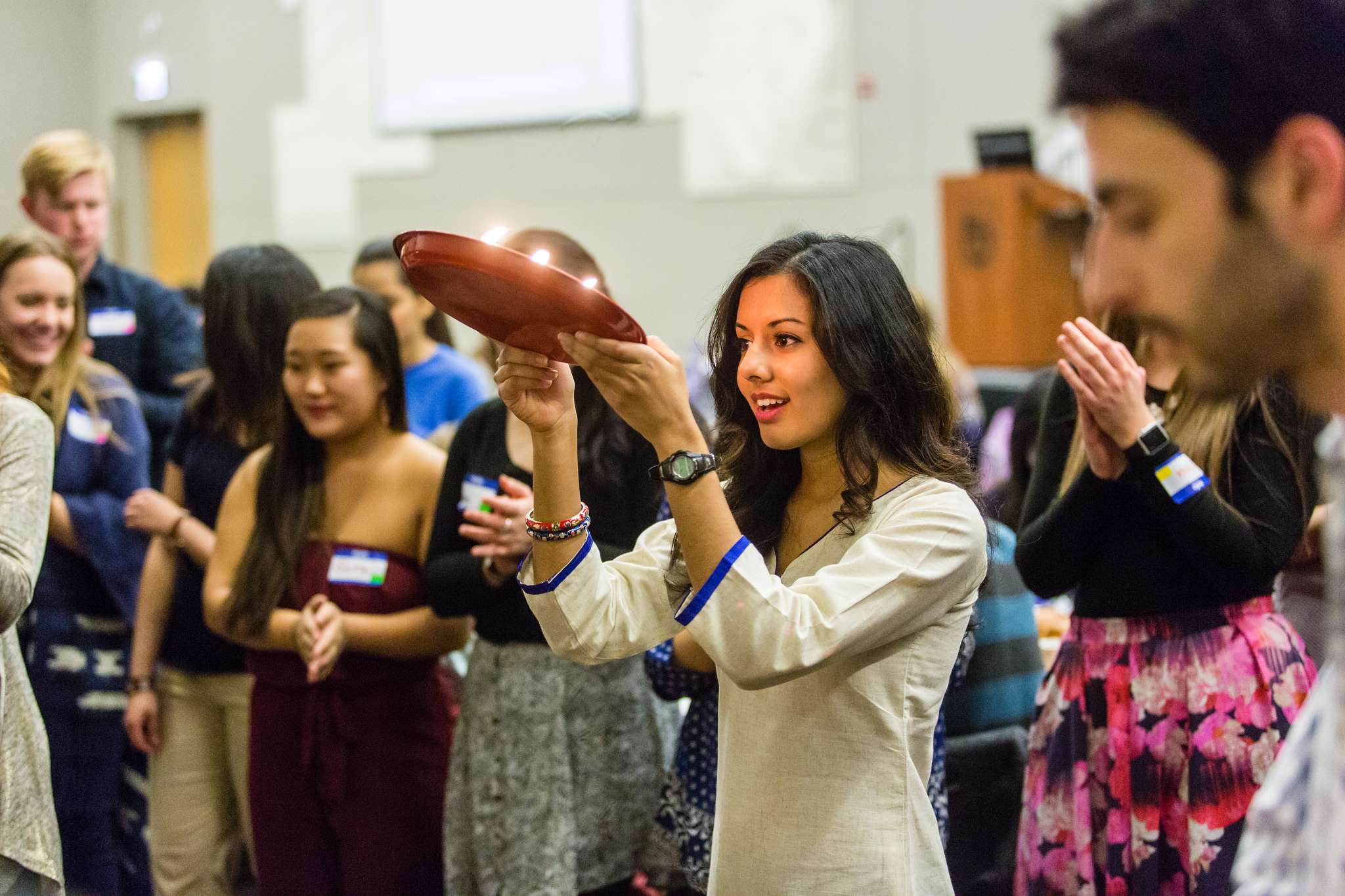 Students at  Loyola University Chicago  participating in a Hindu Shabbat dinner. Photo courtesy of the University.