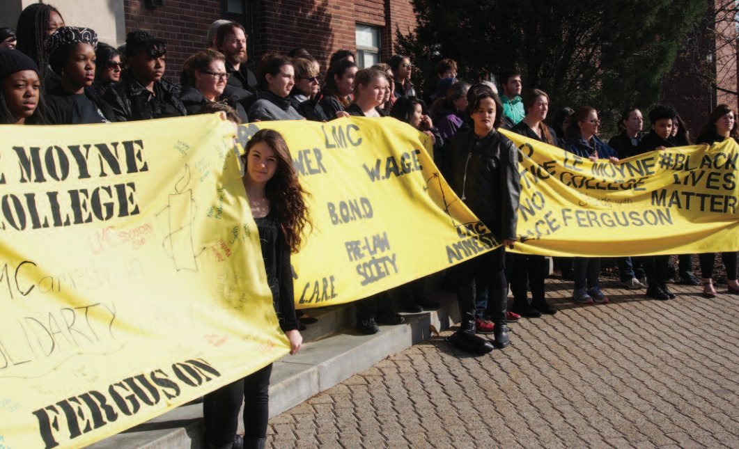 In May 2015, approximately 50 students, faculty, and administrators gathered outside of Grewen Hall,  Le Moyne College , to express their solidarity in support of the people of Ferguson. Following a moment of silence, the group walked throughout the main academic complex before reconvening outside for prayer and reflection.