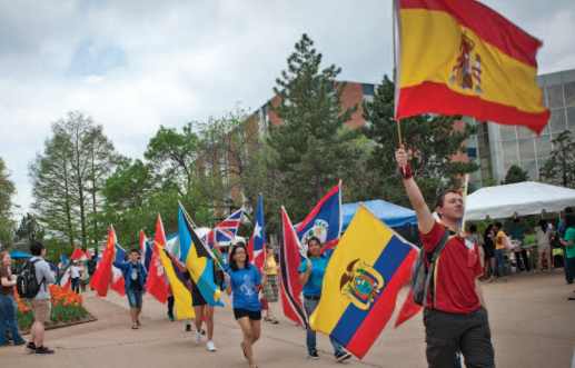 The Parade of Nations kicks off the Billiken World Festival, designed to recognize the international dimension of Saint Louis University's academic programs and to celebrate SLU's role in international education and service. © 2012 Michelle Peltier, Saint Louis University.