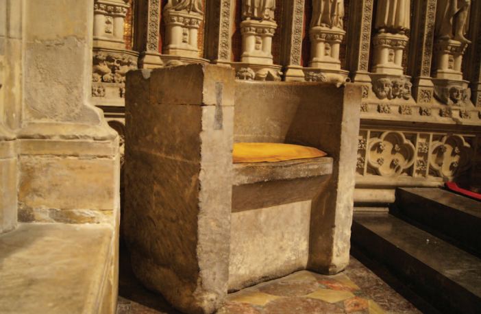 The frith stool at Beverley Minster in the U.K. dates back to Saxon times. Anyone wanting to claim sanctuary from the law would sit in the chair. Photo courtesy of Jeremy Fletcher, former Vicar of Beverley Minster.