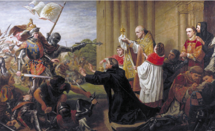 King Edward IV and his Yorkist troops are beseeched by a priest to stop the pursuit of their Lancastrian foes who have requested sanctuary from Tewkesbury Abbey. Richard Burchett (1815–75)