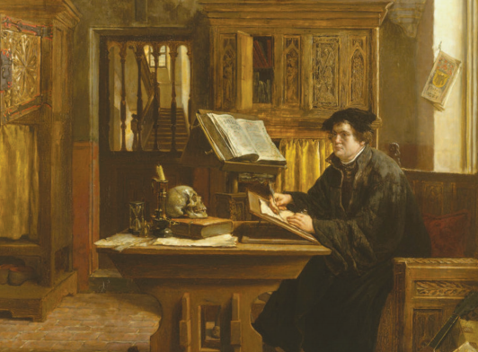 Martin Luther translating the Bible, Wartburg Castle, 1521. Eugène Siberdt 1898
