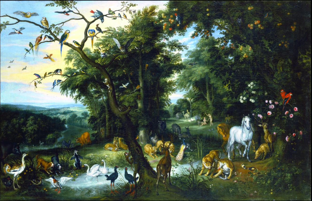 The Garden of Eden, by Jan Brueghel the Elder. Circa 1655 and circa 1661. Izaak van Oosten [Public domain], via Wikimedia Commons