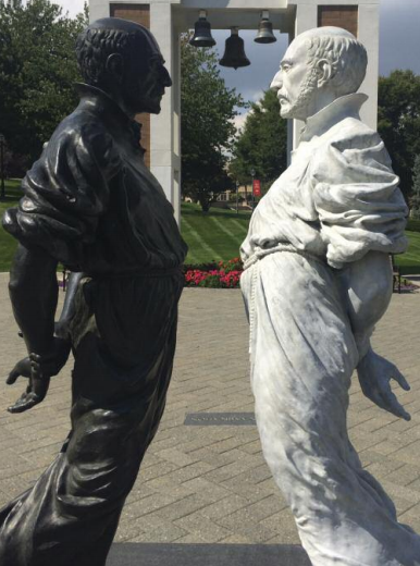 """Designed by Jeremy Leichman and Joan Benefiel,""""Examen""""is a two-part sculpture of St. Ignatius at Fairfield University."""
