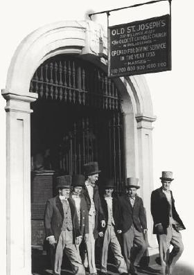 Students reenact the 1851 opening of Saint Joseph's College at its original campus during the 1951 centennial celebration.